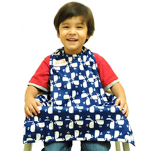 Price comparison product image BIB-ON,  A New,  Full-Coverage Bib and Apron Combination for Infant,  Baby,  Toddler Ages 0-4+. One Size Fits All! (Whales)