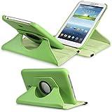 "Fosmon Samsung Galaxy Tab 3 7.0"" Inch Tablet Case - GYRE Series Revolving Leather Case for Samsung Galaxy Tab 3 [7.0"" Inch Tablet] (Light Green)"