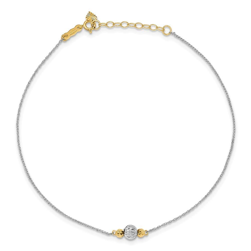 Roy Rose Jewelry 14K White Gold Ropa Two-tone Diamond Cut Bead w// 1 extension Anklet ~ Length 9 inches