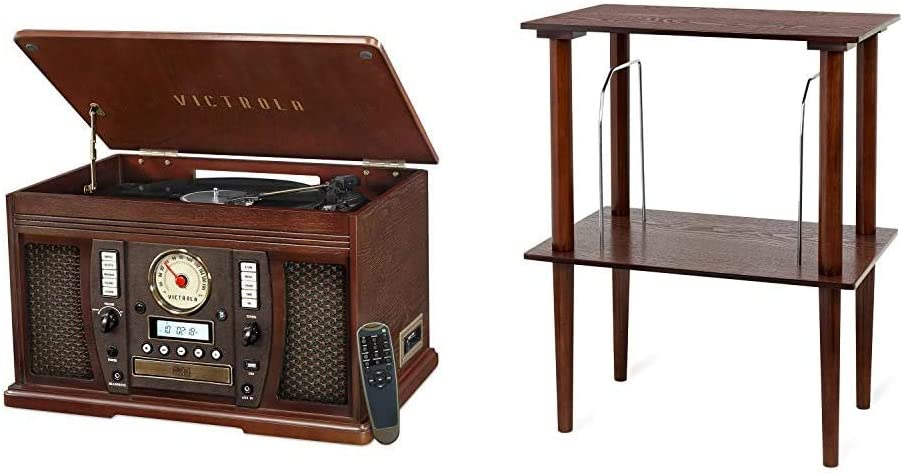 Victrola Aviator 8-in-1 Bluetooth Record Player & Multimedia Center & Wooden Stand for Wooden Music Centers with Record Holder Shelf, Espresso