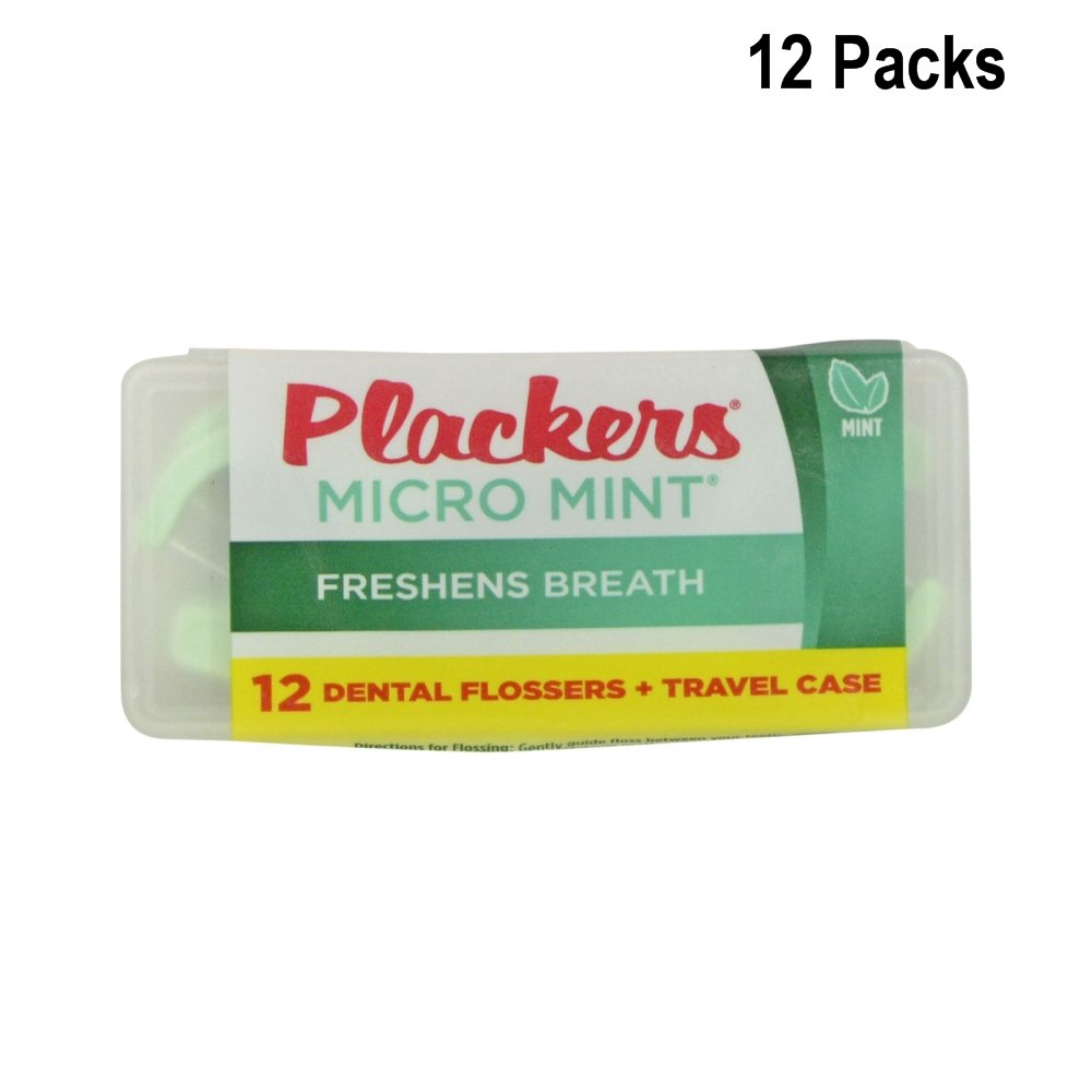 Plackers Dental Flossers Micro Mint 12-pc in Handy Travel Case (12 Pack)