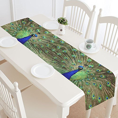 Design With Graceful Peacock Pattern Cotton Linen Placemat Table Runner 14 x 72 Inches, Rectangle Table Runner Cotton Linen Cloth Placemat.