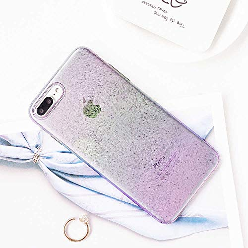 iPhone 8 Plus Case, 7 Plus Cute Case for Girls, Colorful Translucent Rainbow Design with 3D Raindrop Pattern, Slim Fit Hard PC Full-Body Protective Cover Case for Apple iPhone 7/8 Plus 5.5''(Rainbow)