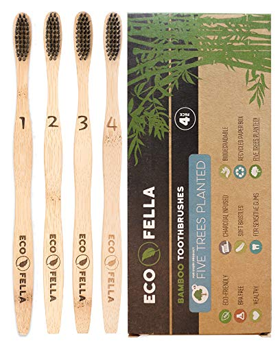 ECOFELLA Natural Bamboo Tooth Brush Set with Charcoal Bristles for Teeth Whitening | BPA Free & Soft for Sensitive Gums | 4x Individually Numbered | Plant 5 Trees for Free | Incl. Zero Waste EBOOK