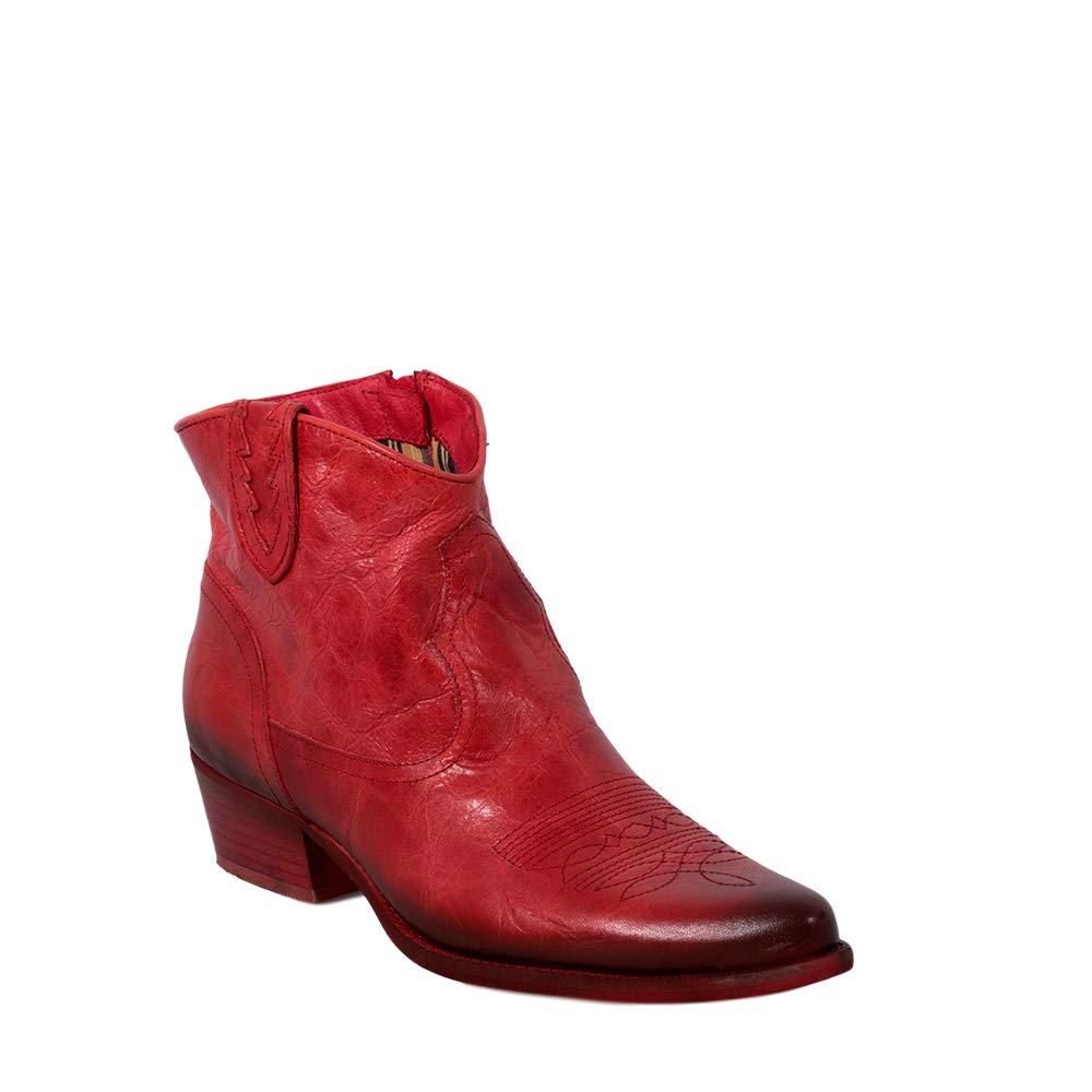 Felmini - Damen Schuhe - Verlieben West B504 - Cowboy & Biker Stiefeletten - Echtes Leder - Rot