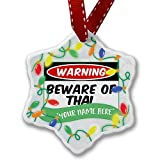 Personalized Name Christmas Ornament, Beware of the Thai Cat from Thailand NEONBLOND