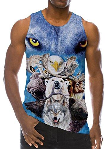 46e74954cf7bd Loveternal Summer 3D Digital Printed Mens Sleeveless Tees Cool Tank Tops  Crewneck Shirts