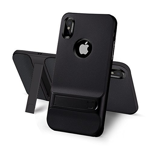 iPhone X Case With Stand Kickstand - USAcases 2017 Ultra Thin Slim Fit Built-in Holder Kickstand Premium Carbon Fiber Dual Layer Hybrid Shockproof Heavy Duty Protection For iPhone X - Fibre Bag Carbon
