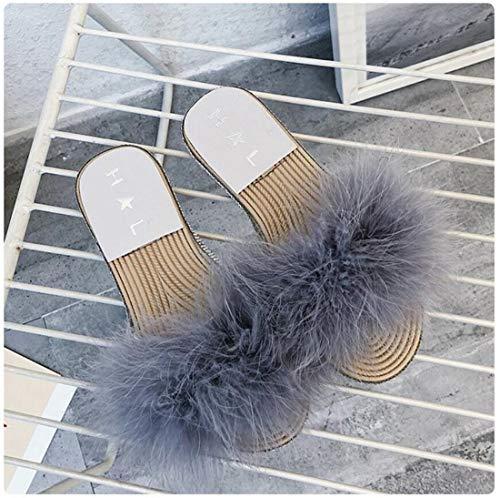 Moda Zapatillas otoño de Mujer Gris casa Zapatillas de DANDANJIE imitación de Exterior Zapatillas de de de de de Diamantes Felpa X1qzxRU