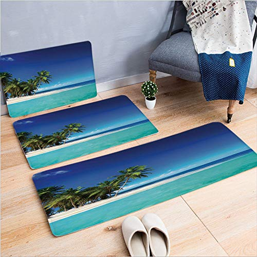 3 Piece Non-Slip Doormat 3D Print for Door mat Living Room Kitchen Absorbent Kitchen mat,Tropical Nature Landscape Photography,15.7