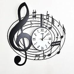 mute the art living room wall clock/Creative iron-note musical clock/ modern minimalist clock-A 16inch