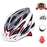 Cycling Bike Helmet Specialized Bicycle Helmets With Detachable Visor Adjustable Thrasher And 24 Vents Airflow For Adult & Mens & Womens Head Safety Protection. (Red+Grey+White) For Sale