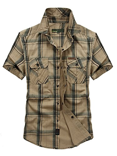 Khaki Shirts Military (Chartou Mens Essential Snap-up Spread Collar Short-Sleeve Plaid Military Tactical Work Shirts (Khaki, Large))