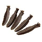 Skyus® 5 Vintage Feather Alligator Barrettes Hair Clips 0.5