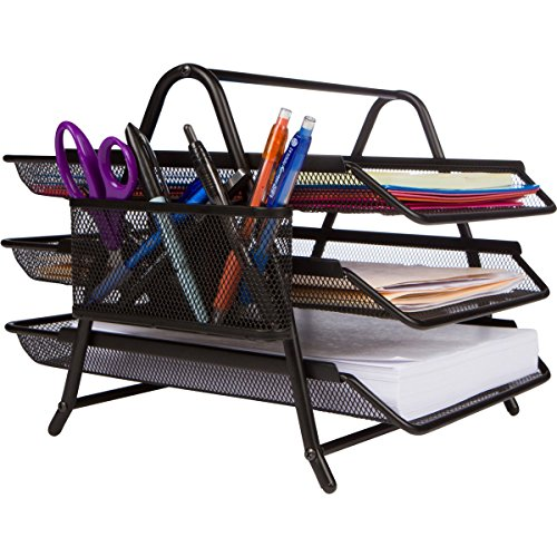 hot sale 2017 1InTheOffice Black Wire Mesh Stackable Letter Tray
