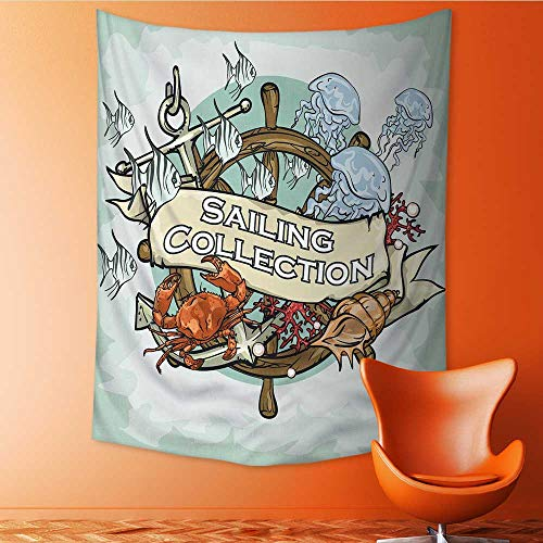 (Auraisehome Vertical Version Tapestry Nautical Label with Sample Text Sailing Collection Throw, Bed, Tapestry, or Yoga Blanket 51W x 60L INCH)