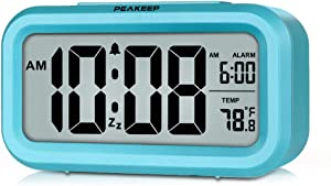 PEAKEEP Smart Night Light Digital Alarm Clock with Indoor Temperature, Battery Operated Desk Small Clock (Blue)