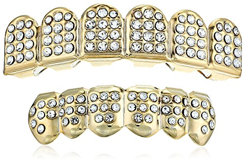 18K Gold Plated Brass Crystal Top And Bottom 6-Tooth Grillz Set -