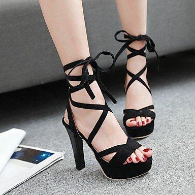 LvYuan Tacón Robusto-Zapatos del club-Sandalias-Informal-PU-Negro Rojo Gris Red