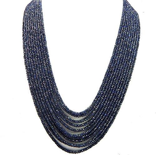 Burma Blue Sapphire Necklace!!!!!! 8 Strand 3-4mm 19 inch Genuine!!!! Blue Sapphire Necklace!! ()