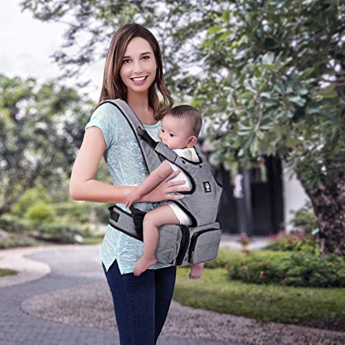 Baby Carrier with Hip Seat and Diaper Bag, Soft Baby Carrier, 360 Ergonomic, Safe and Comfortable for Child and Moms, Dads