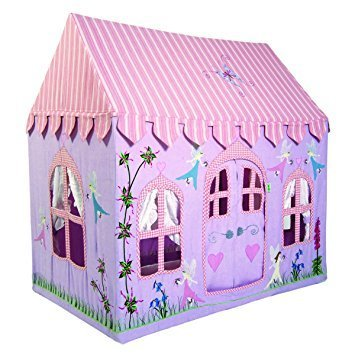 Embroidered Cottage - Win Green Large Fairy Cottage 100% Cotton Embroidered and Appliqued Playhouse