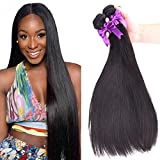 OYM HAIR 4 Bundles Brazilian Straight Hair 100% Virgin Hair Weave Unprocessed Human Hair Extensions Natural Color(10 12 14 16)