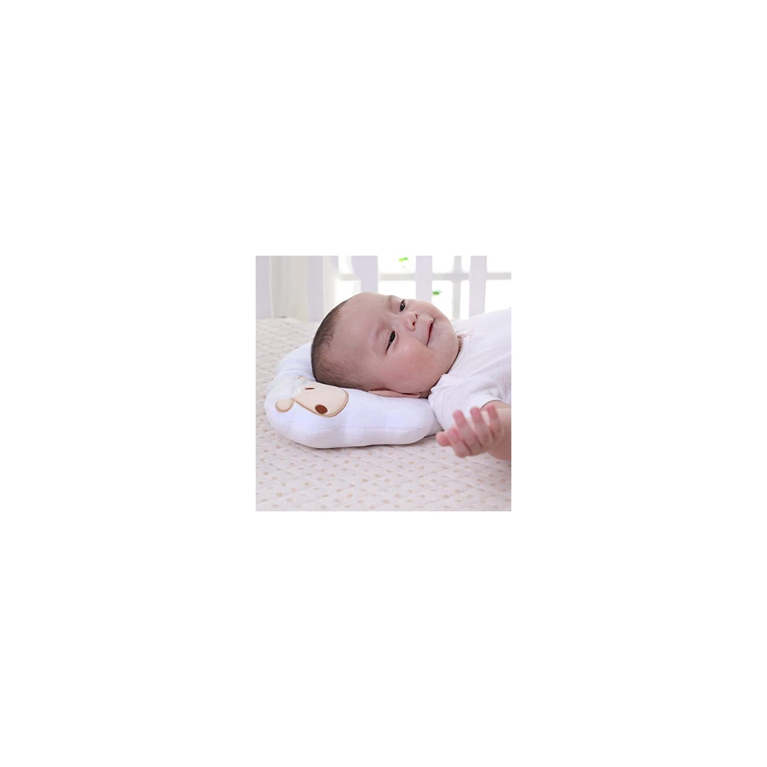 StoHua Baby Pillow for Flat Head Syndrome Prevention, Baby Sleeping Pillow Newborn Baby Organic Cotton Head Shaping Pillow for Infants Soft & Breathable