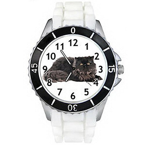 CSW096 Flat-Faced Persian Longhair Cat White Silicone Mens Ladies Wrist - Faced Round Cats
