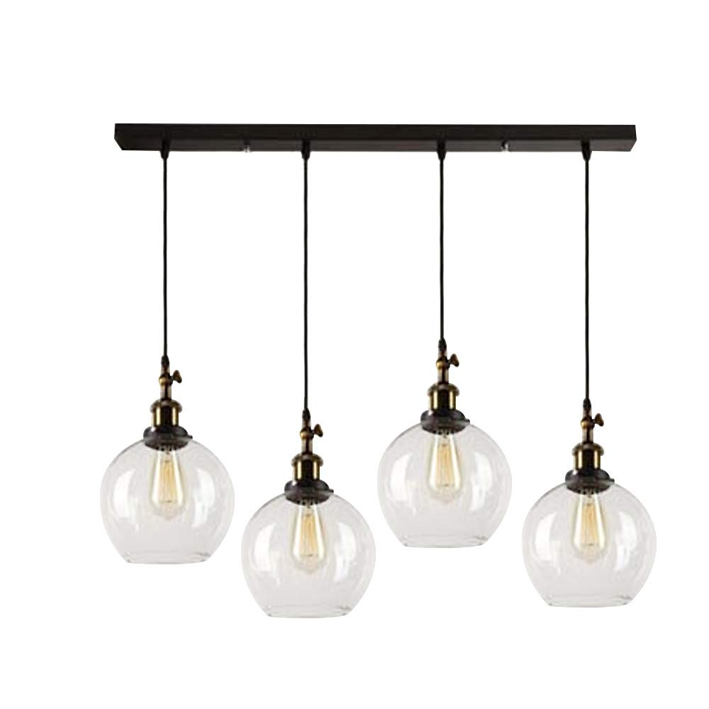 SUSUO Lighting 4-Lights Retro Country Style Clear Glass Island Chandelier Pendant Lighting Fixture,Antique Brass & Bronze Finish