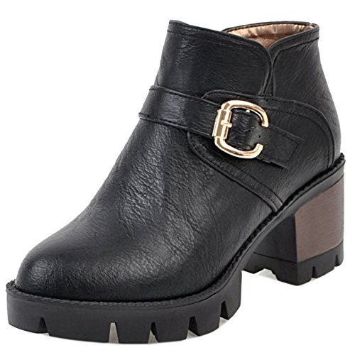 Booties Women Warm Black Chunky Zipper Heel Ankle Casual TAOFFEN A1x0zwnRA