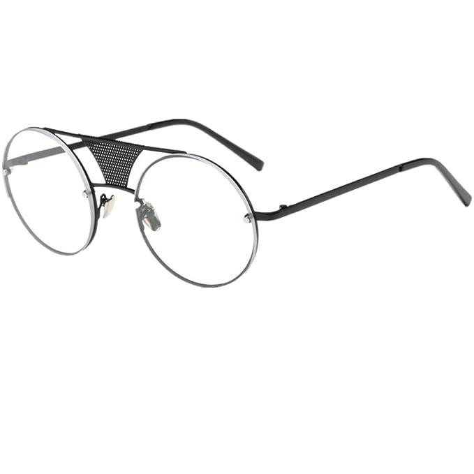 bbcf4bea9d65 Amazon.com  Hot sale!Elevin(TM)2017 New Woman Men Ladies Female Fashion  Steampunk Light Weight Designer Round Metal Frame Mirror Sunglasses  Eyeglasses (B