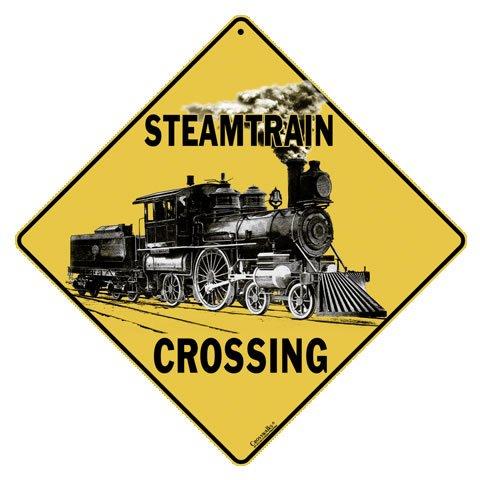 "CROSSWALKS Steam Train Crossing 12"" X 12"" Aluminum Sign (X193)"
