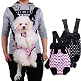 Stock Show Adjustable Dog Backpack Carrier, Legs Out Front Cat Dog Backpack Bag with Wide Thick Straps and Cute Bowknot Pattern, for Walking Travel Hiking Camping, Pink