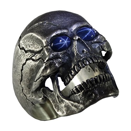 (UNIQABLE Open Jaw Skull Natural Blue Star Sapphire Gems Sterling Silver 925 Biker Ring Masonic Rock Heavy Metal Harley Hand Made Rustic Finish and Unique Highly Collectible Design Skull 1 (12))