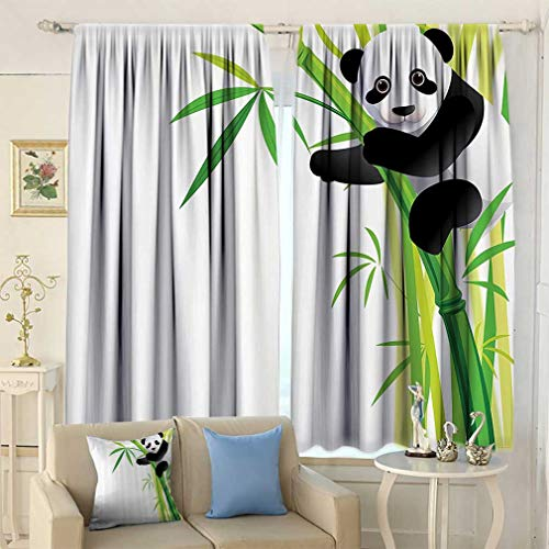 Animal Decor Curtains, Young Panda Hang on Bamboo Tree Forest Wild Nature Tropical Environment Cartoon Window Drapery for Living Room 2 Panels Set, 55'' W x 45'' L Green Black White 45' Tropical Home Decor
