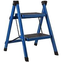 Color : Blue Ideal for Zuhause//K/üche//Garage Climb Leiter 2 Stufenleiter Eisenmaterial Nicht Beleg-Treter Leichte Heavy Duty 200KG Tragf/ähigkeit
