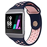 UMTELE for Fitbit Ionic Band, Two-Toned Perforated Replacement Strap Breathable Accessory Wristband