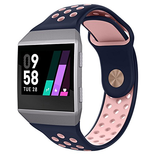 UMTELE Compatible for Fitbit Ionic Band, Two-Toned Perforated Strap Breathable Accessory Wristband with Quick Lock&Release Buckle Replacement for Fitbit Ionic Smart Watch, Small, Blue/Pink