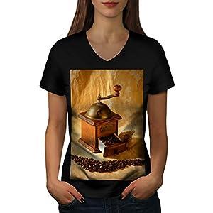 Kaffeemühle Gerät Bohne Cutter Damen NEU Schwarz L T-shirt | Wellcoda