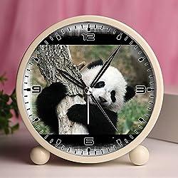 Alarm Clock, Retro Portable Clocks with Nightlight Custom designs -cute and funny panda 82.Cute panda