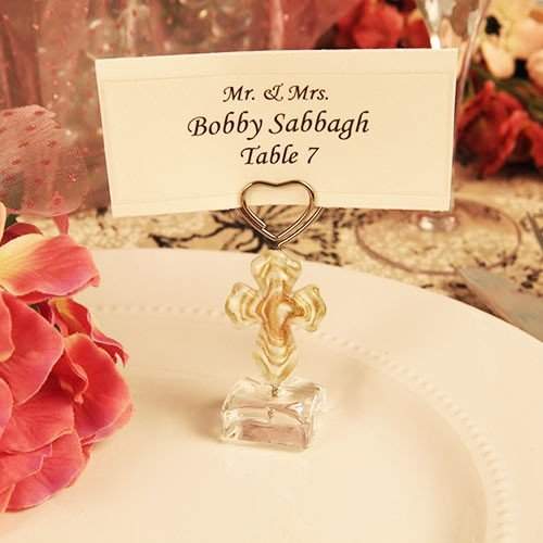 48 Cross Desgin Arte Murano Photo or Place Card Holder Great for Wedding, Communion, Christening or Religious Ocassion by onlinepartycenter