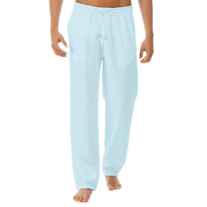 295ad99dbeb5 Pantaloni da Spiaggia Larghi da Uomo Pantaloni Estivi Traspiranti Morbidi- Pantaloni di Lino in Cotone
