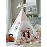 COZY CULTURE Teepee Tent for Kids and Toddler – Foldable Indian Playhouse for Girls w/Carry Bag & Decoration Banner + Free Bonus Pole Flags, for Indoor and Outdoor Use