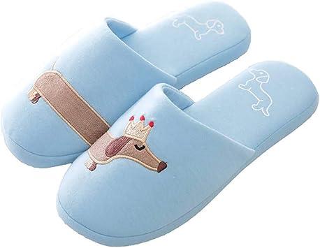 SKYROPNG Zapatillas para Mujer Algodón Slippers,Simple Caricatura ...