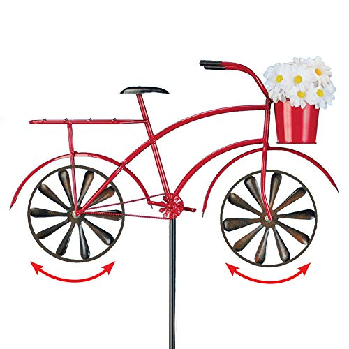 Collections Etc Old-Fashioned Red Bicycle with Basket of White Daisies Spinner Stake - Seasonal Outdoor Decoration