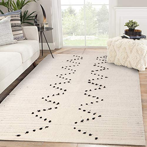 Moroccan Cotton Area Rug 4 x 6 , KIMODE Woven Fringe Throw Rugs Cream and Black Modern Geometric Collection Rugs Machine Washable Indoor Floor Runner Rug for Porch Kitchen Bedroom Living Room