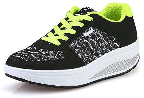 Ausom Femmes Respirant Casual Swing Chaussures Plate-forme Cales Chaussures De Tonification Marche Fitness Extérieur Sneaker Noir