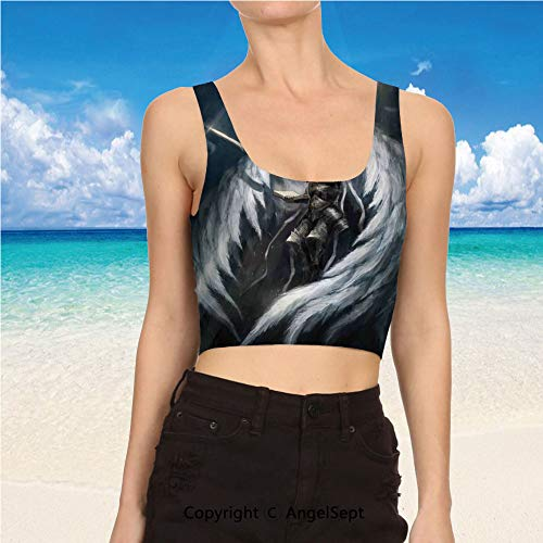 (Casual Tank Tops,Sexy Tops Women Summer S,Silver White Angel Knight with Majest)