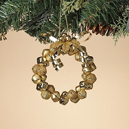 Gerson 4 Inches Height Metal Gold Glitter Jingle Bell Wreath Decorative Hanging Ornament